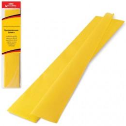 Цветная бумага крепированная BRAUBERG, стандарт, растяжение до 65%, 25 г/м2, европодвес, желтая, 50х200 см, 124728