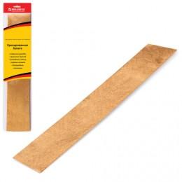 Цветная бумага крепированная BRAUBERG, металлик, растяжение до 35%, 50 г/м2, европодвес, золотая, 50х100 см, 124738