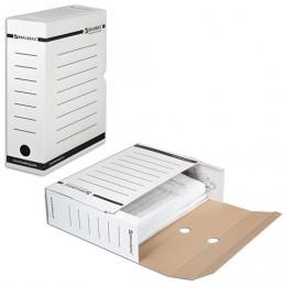 Короб архивный с клапаном, микрогофрокартон, 100 мм, до 900 листов, плотный, белый, BRAUBERG, 124848