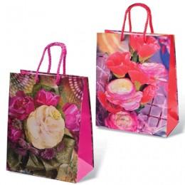Пакет подарочный ламинированный, 18x23x10 см, Цветы, ассорти