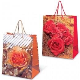 Пакет подарочный ламинированный, 26х32х15 см, Цветы