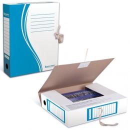 Папка архивная с завязками, микрогофрокартон, 75 мм, до 700 листов, плотная, синяя, BRAUBERG, 124853