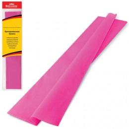 Цветная бумага крепированная BRAUBERG, стандарт, растяжение до 65%, 25 г/м2, европодвес, розовая, 50х200 см, 124729