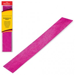 Цветная бумага крепированная BRAUBERG, металлик, растяжение до 35%, 50 г/м2, европодвес, розовая, 50х100 см, 124741
