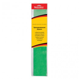 Цветная бумага крепированная BRAUBERG, металлик, растяжение до 35%, 50 г/м2, европодвес, зеленая, 50х100 см, 124739