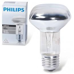 Лампа накаливания PHILIPS Spot R63 E27 30D, 60 Вт, зеркальная, колба d = 63 мм, цоколь E27, угол 30°, 043665