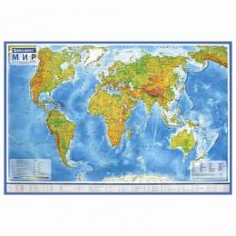 Карта мира физическая 101х66 см, 1:29М, с ламинацией, интерактивная, в тубусе, BRAUBERG, 112378