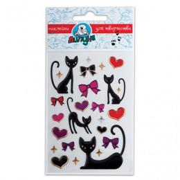Наклейки ЛИПУНЯ Большие гелевые кошки и сердца, с европодвесом, bES011