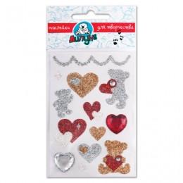 Наклейки ЛИПУНЯ Блестящие мишки с сердцами, с европодвесом, JGS003
