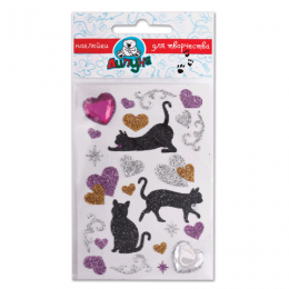 Наклейки ЛИПУНЯ Блестящие кошки с сердцами, с европодвесом, JGS001