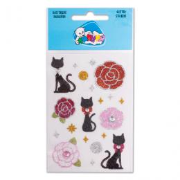 Наклейки ЛИПУНЯ Блестящие розы и кошки, с европодвесом, GS001