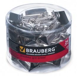 Зажимы для бумаг BRAUBERG, комплект 24 шт., 41 мм, на 200 л., цвет
