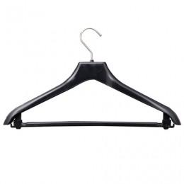 Вешалка-плечики, размер 46-48, пластик, анатомическая, перекладина, крючки для бретелей, черный, С017