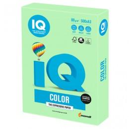 Бумага IQ color БОЛЬШОЙ ФОРМАТ (297х420 мм), А3, 80 г/м2, 500 л., пастель, зеленая, MG28