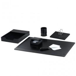 Набор настольный GALANT из экокожи, 6 предметов (под глянцевую/крокодиловую кожу, черный), 232277