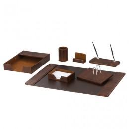 Набор настольный GALANT из экокожи, 7 предметов (под гладкую кожу, темно-коричневый), 232280