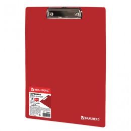 Доска-планшет BRAUBERG Contract сверхпрочная с прижимом А4 (313х225 мм), пластик, 1,5 мм, КРАСНАЯ, 228681