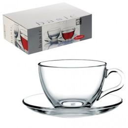 Набор чайный Basic на 6 персон (6 кружек 215 мл, 6 блюдец), стекло, PASABAHCE, 97948