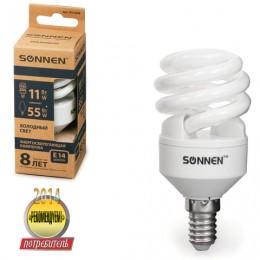 Лампа люминесцентная энергосберегающая SONNEN Т2, 11 (55) Вт, цоколь E14, 8000 часов, холодный свет, эконом, 451068