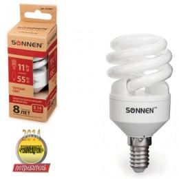 Лампа люминесцентная энергосберегающая SONNEN Т2, 11 (55) Вт, цоколь E14, 8000 часов, теплый свет, 451067