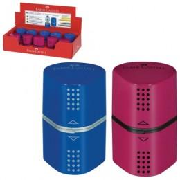 Точилка FABER-CASTELL Trio Grip 2001, 3 отверстия, 2 контейнера, пластиковая, красная/синяя, 183801