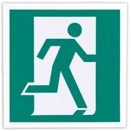 Знак эвакуационный Выход здесь (правосторонний), 200х200 мм, самоклейка, фотолюминесцентный, Е 01-02