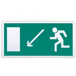 Знак эвакуационный Направление к эвакуационному выходу налево вниз, 300х150 мм, самоклейка, фотолюминесцентный, Е 08