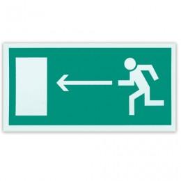 Знак эвакуационный Направление к эвакуационному выходу налево, 300х150 мм, самоклейка, фотолюминесцентный, Е 04