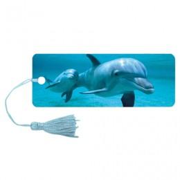 Закладка для книг 3D, BRAUBERG, объемная c движением Дельфин, с декоративным шнурком-завязкой, 125749