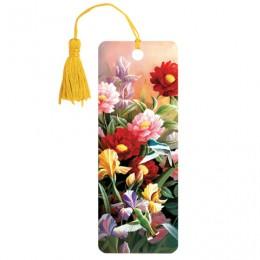 Закладка для книг 3D, BRAUBERG, объемная, Цветы, с декоративным шнурком-завязкой, 125777