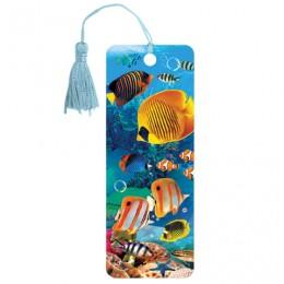 Закладка для книг 3D, BRAUBERG, объемная, Экзотические рыбки, с декоративным шнурком-завязкой, 125779