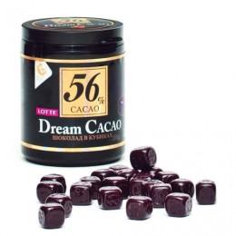 Шоколад LOTTE Dream Cacao, горький (какао 56%), в кубиках, в пластиковой банке, 106 г