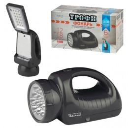 Фонарь-прожектор светодиодный ТРОФИ TSP12, 12 х LED + 18 x LED, 2 режима, аккумуляторный, заряд от 220 V
