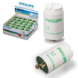 Стартеры для люминесцентных ламп PHILIPS S2, комплект 25 шт., 4-22 W, 220-240 V (двухламповая.схема подключения)
