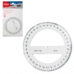 Транспортир 10 см, 360 градусов, пластиковый, KOH-I-NOOR, прозрачный, европодвес, 074627800000