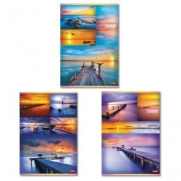 Тетрадь А4 96л. HATBER скоба, клетка, обложка картон, Гаснет день в небесах (3 вида), 96Т4В3