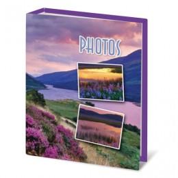 Фотоальбом BRAUBERG на 100 фотографий 10х15 см, твердая обложка, Горный вид, сиреневый, 390662