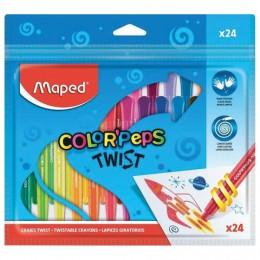 Восковые мелки MAPED (Франция) Color`peps Twist, 24 цвета, выкручивающиеся в пластиковом корпусе, 860624