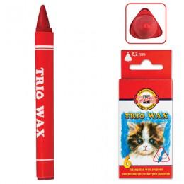 Восковые мелки KOH-I-NOOR Trio Wax, 6 цветов, трехгранные, картонная упаковка с европодвесом, 8271006001KS