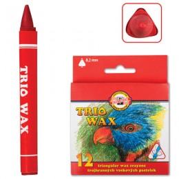 Восковые мелки KOH-I-NOOR Trio Wax, 12 цветов, трехгранные, картонная упаковка с европодвесом, 8272012001KS