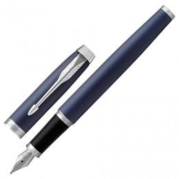 Ручка перьевая PARKER IM Core Matte Blue CT, корпус темно-синий лак, хромированные детали, синяя, 1931647