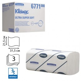Полотенца бумажные 96 шт., KIMBERLY-CLARK Kleenex, комплект 30 шт., Ultra, 3-сл., белые, 31,5х21,5 см, Interfold, 601533-534, 6771