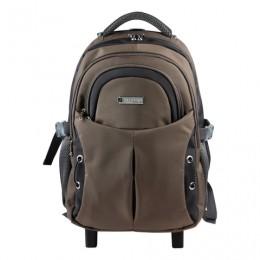 Рюкзак для школы и офиса BRAUBERG Jax 1, 30 л, размер 43х33х23 см, ткань, на колесах, черно-коричневый, 224458