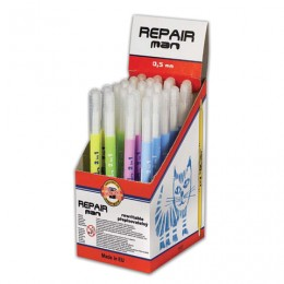 Ручка стираемая роллер KOH-I-NOOR Repair Man, СИНЯЯ, корпус ассорти, узел 0,5 мм, линия письма 0,3 мм, 7719831702KD