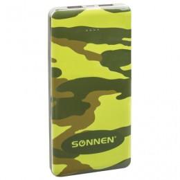 Аккумулятор внешний SONNEN POWERBANK V31 КАМУФЛЯЖ-ЛЕС, 12000 mAh, 2 USB, литий-полимерный, 262918