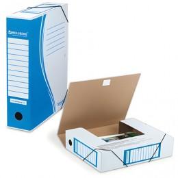 Папка архивная с резинкой, микрогофрокартон, 75 мм, до 700 листов, плотная, синяя, BRAUBERG, 121810