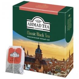 Чай AHMAD Classic Black Tea, черный, 100 пакетиков с ярлычками по 2 г, 1665-08