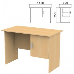 Стол письменный Канц, 1100х600х750 мм, тумба с дверью, цвет бук невский, СК26.10