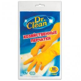 Перчатки хозяйственные латексные DR.CLEAN (Доктор Клин), без х/б напыления, размер М (средний), 601622