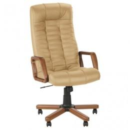 Кресло офисное Atlant extra, кожа, дерево, бежевое